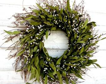 Spring Wreath-Farmhouse Wreath-Rustic Twig Wreath-Summer Wreath-Housewarming Gift-BAY LEAF Wreath-Year Round Wreath-Holiday Home Decor-Gifts