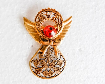 Gold tone Angel with pink Crystal