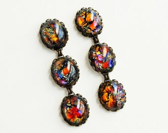 Black Opal Dangle Earrings Long Iridescent Rainbow Glass Post Earrings Vintage Black Opal Hypoallergenic Long Glamorous Statement Jewelry