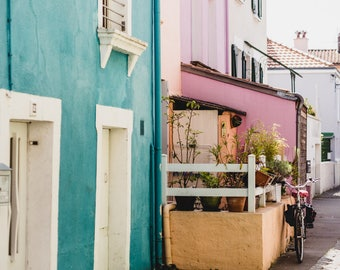 "France Travel Photography, ""Pastel Houses of Trentemoult"", Gallery Wall Art Prints, Home Decor"
