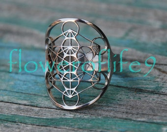 Metatron's Cube ring - Stainless Steel