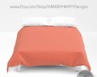 Solid Color SALMON  /Choice of Duvet Cover or Comforter/ Bedding Minimalist Modern Basic Art /Sizes Twin, XL Twin, Full, Queen, King