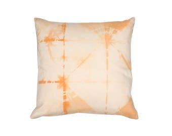 Annatto Cushion, hand-dyed fabric, shibori