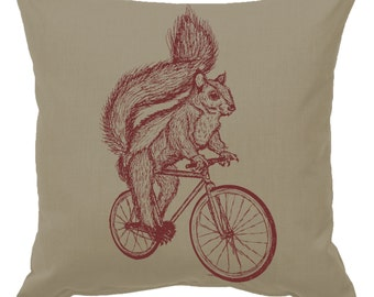Squirrel on a Bicycle - Throw Pillow