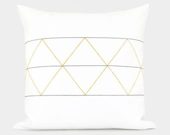 16x16 Geometric Decorative Pillow Cover | Minimalist and Mid Century Home Decor | Mustard Yellow, Navy Blue, Charcoal Gray and White
