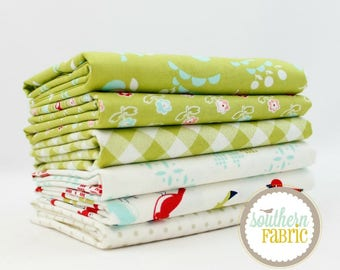 "Vintage Picnic - Green - Fat Quarter  Bundle - 6 - 18""x21"" Cuts - Bonnie and Camille - Moda Quilt Fabric"