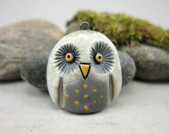 White Owl...Raku Pendant...3cm / 1.2 in