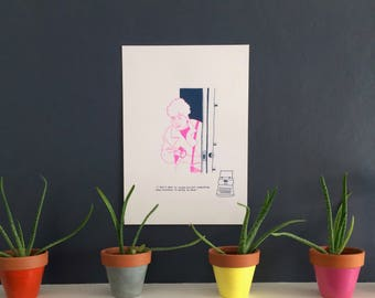 It's a mystery - Hand printed, limited edition A3 Screen Print - Pink and Navy