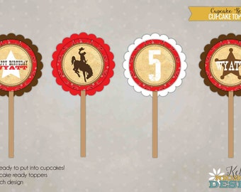 Custom Cowgirl/Cowboy Western Birthday Party Cupcake Toppers, Boy's Birthday Decorations #B116B