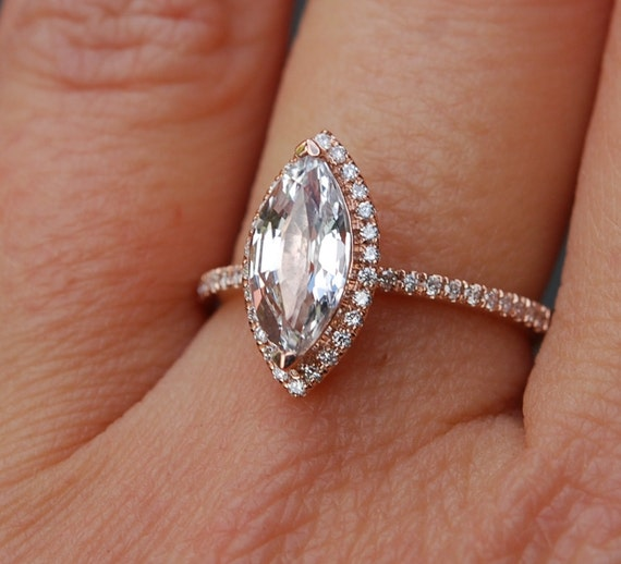 marquise engagement ring rose gold diamond ring engagement ring with 165ct white sapphire engagement rings by eidelprecious - Marquise Wedding Rings