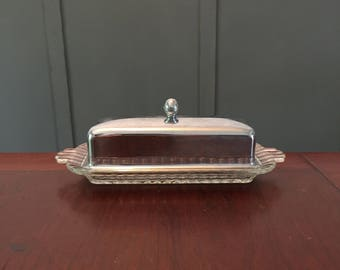 Butter Dish Glass and Metal Butter Dish Dining Serving Holiday Serving