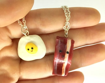 Eggs and Bacon Best Friends Necklace Two 2 Set