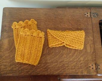 Handmade Boot Cuffs and Ear Warmer Set/ Crochet Headband/ Crochet Turban/ Boot Toppers/ Scallop Boot Cuffs/ Winter Accessories/ Gift for Her