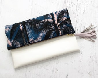 Miami Heat Palm Tree & White Faux Leather Foldover Clutch - Gift for her, Birthday, Anniversary, Bridesmaid