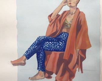 Woman Sitting in Robe Watercolor Painting, One of A Kind