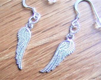 Angel Wing Earrings, Sterling Silver Dangles, Silver Wings Earrings, Angel Jewellery, Feather Drops, Boho Jewellery,