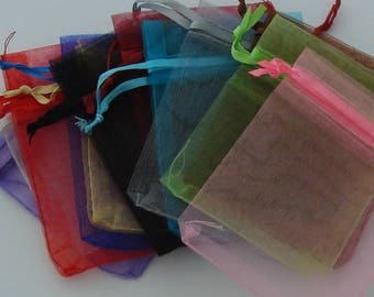 12 pockets rectangular organza multicolor 7x9cm