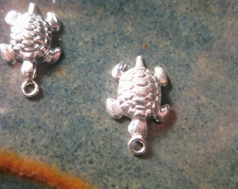 10% OFF ;). 1 Sterling Silver Honu Turtle Charm 8x12mm Sea Turtle Drop .6mm Hole, Hollow Back, Wholesale