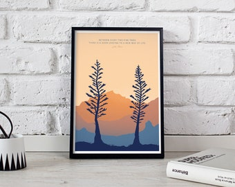 TWO PINES 8x10 • Giclee Fine Art Print •Backpacking Camping Mountain Hiking Outdoorsy Quote Poster Mountain Home decor