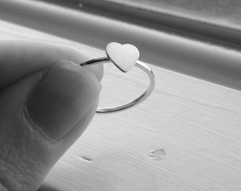 Sterling Silver Heart Ring, Stackable Heart Ring, Heart Stacking Ring, Stackable Ring, Sterling Silver Stacking Rings, Heart Jewelry