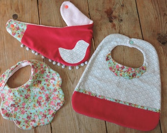 CUSTOM baby girl bibs set