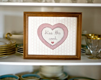 Vintage Kiss the Cook Decor   Embroidered Heart in Frame