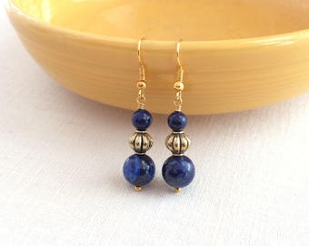 Blue lapis earrings. Lapis Lazuli earrings, drop blue earrings. Lapis and gold earrings. Drop earrings blue. Gold and lapis lazuli. Blue gem