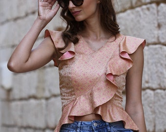 Naomi Brocade Crop Top