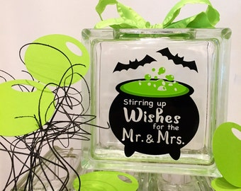 Halloween Wedding Guest Book Wish Jar ! Stirring up Wishes for the Mr & Mrs - Witches Caldron Green Bubbles - Black Bats - lime green