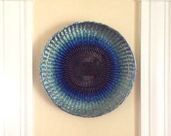 "Sculptural Vessel, ""Shades of Blue"", woven wire wall piece"