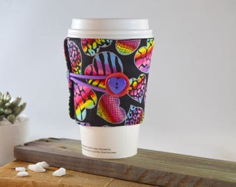 Neon Coffee Cup Cozy, Heart Floral Multicolored Gothic Retro Beverage Java Sleeve, Gift for Tea Lover Friend Teacher, Morning Travel Present