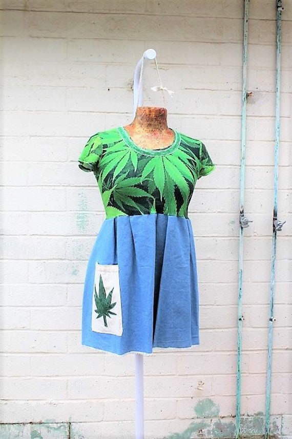 Marijuana Dress/Sativa dress/Grateful dead babydoll dress/Upcycled clothing/Hippie Music Festival Dress/Weed Dress/420 clothing/Green weed