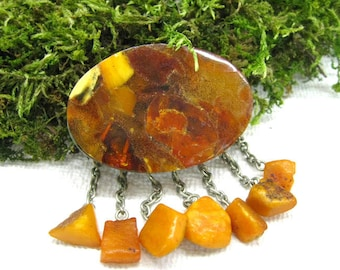 Natural Baltic Amber Antique Brooch 20 gr Old Honey Butterscotch wax amber Oval brooch pin USSR vintage 70s jewelry unique gift Bernstein