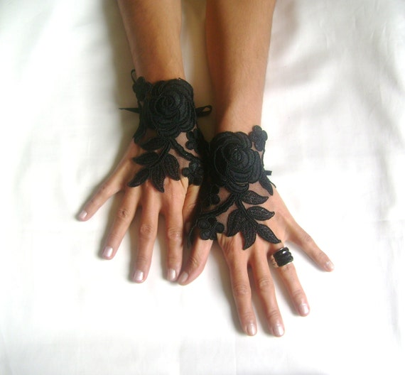 Black Wedding gloves  happiness rose  bridal gloves  fingerless lace  gloves Unique design french lace gloves