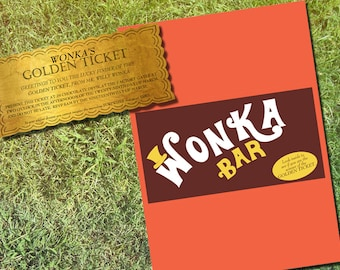 Willy Wonka Personalized Golden Ticket & Chocolate Bar Wrapper invitation Printable