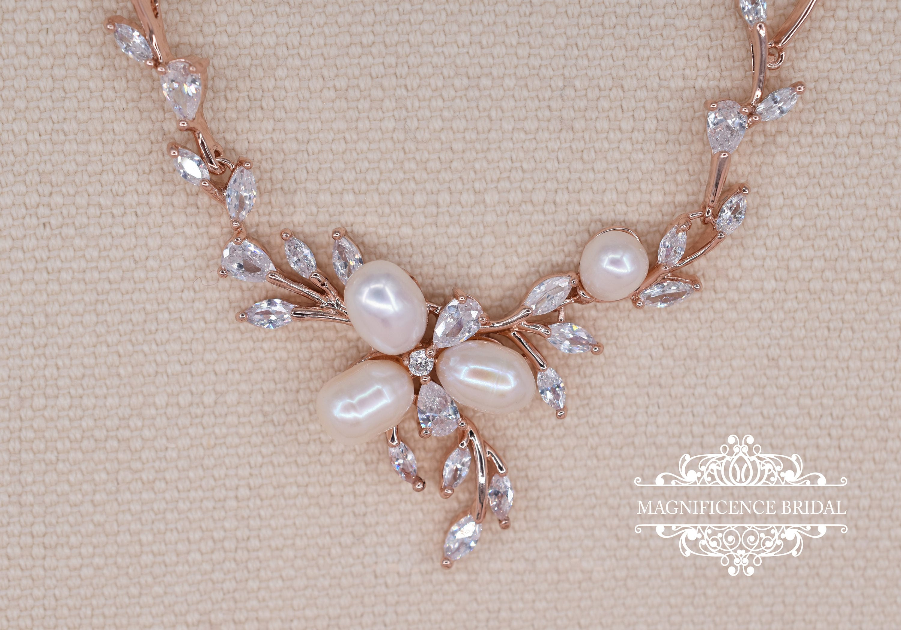 Rose gold bridal set rose gold jewelry rose gold pearl Pearl