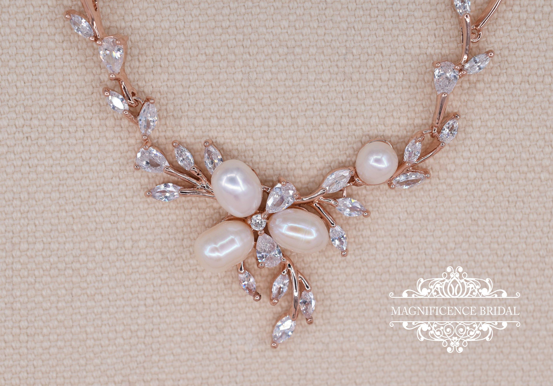 Rose gold bridal set, rose gold jewelry, rose gold pearl, Pearl ...