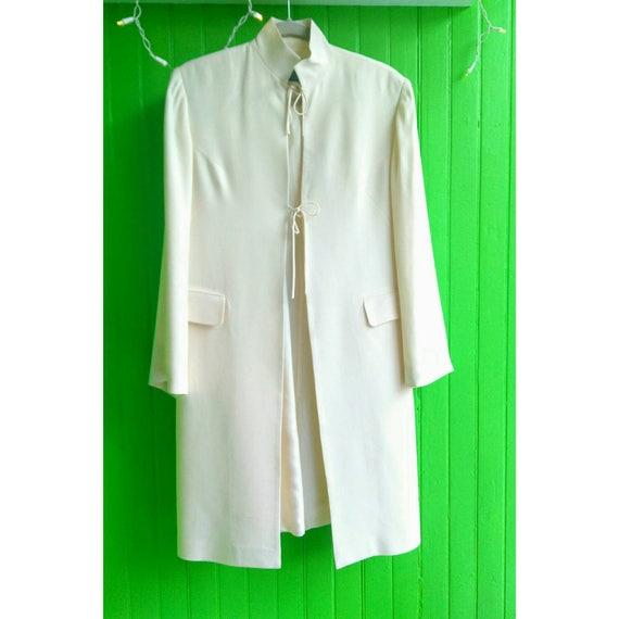 Beautiful Classic 1990s Ivory Silk Midi Jacket by Morgane Le Fay Wedding