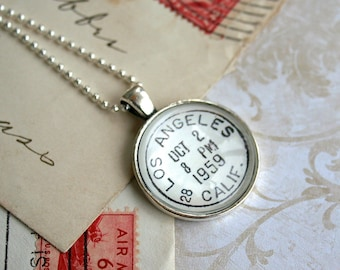 Los Angeles Necklace - Los Angeles Jewelry - Postage Jewelry - Vintage Postmark - Los Angeles Gift - Gift for Her - Vintage Los Angeles