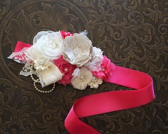 Flower Girl Sash, Bridal Ivory Hot Pink Sash Belt, Maternity Sash Belt, Bridesmaid Sash, Rustic Wedding Sash, Rustic Flower Girl Headband