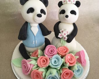 Panda bear wedding cake topper