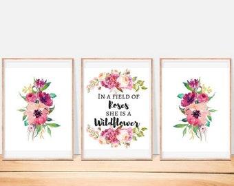 In a Field of Roses She is a Wildflower, Nursery Decor, Digital Prints, Decor Set
