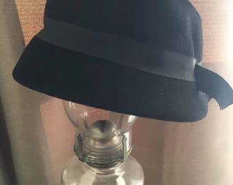 Vintage Glamour Felts Women's Black Cloche Hat Wool Union Made