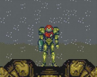 Super Metroid Zebes Landing Cross Stitch Pattern