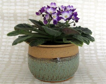 African Violet Pot - Ready to Ship -2 pc Self Watering Planter - Ceramic Planter - Hand Thrown Stoneware - Mothers Day Gift