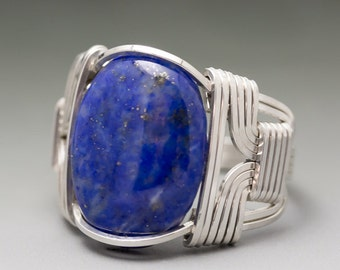 Lapis Lazuli Sterling Silver Wire Wrapped Gemstone Cabochon Ring - Made to Order and Ships Fast!