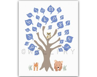 Alphabet print nursery art. ABC nursery decor, owl baby nursery art print. Woodland wall art for kids, children wall art. owl print