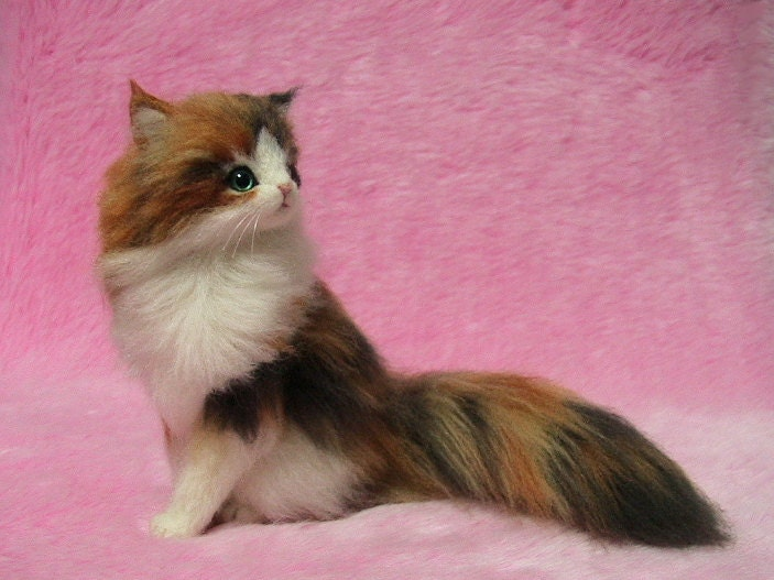 Pink Stuffed Cat With Long Tail