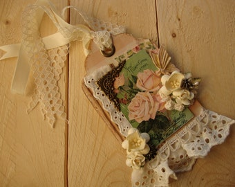 May Day gift tag vintage style shabby chic embellished victorian floral seed packet paper art tag gift wrap package ties