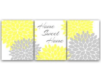 Home Decor CANVAS Wall Art, Home Sweet Home, Yellow Wall Art, Flower Burst Bedroom Wall Decor, Yellow and Gray Bedroom Art PRINTS - HOME42